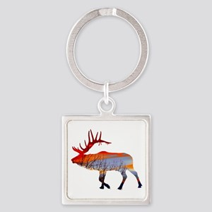 Sunset elk Square Keychain